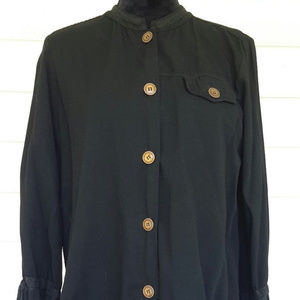 Hot Cotton Black Button-up Blouse Sz Lg